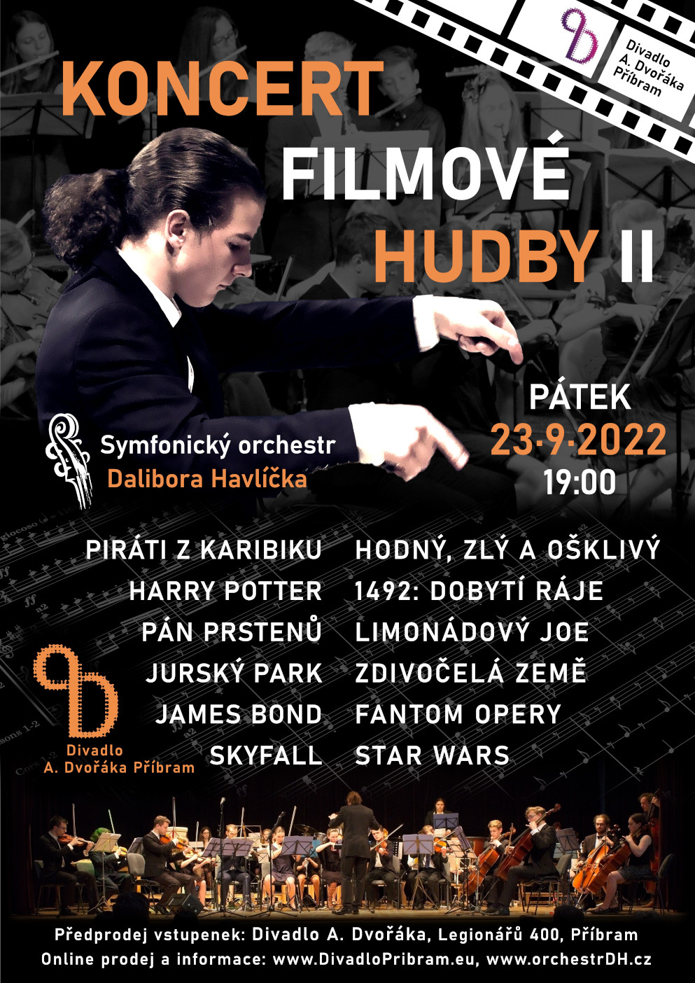 Koncert filmové hudby- Příbram -Divadlo A. Dvořáka, Legionářů 400, Příbram